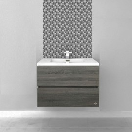 Bogetta 750 mm Light Grey Oak Wall Hung Vanity - Ceramic Top